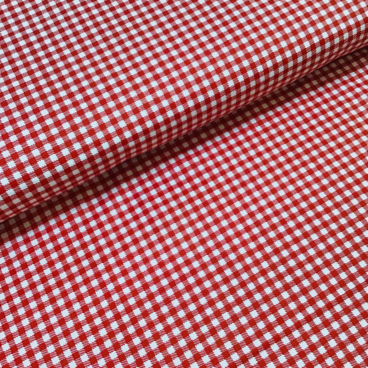 Ткань польская хлопковая, мелкая красная клетка на белом