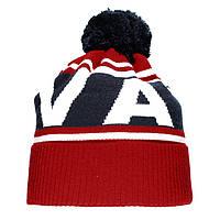 Брендовая новинка 2018 года мужская вязаная шапка с бубоном Vans красная шерстяная теплая Ванс люкс реплика