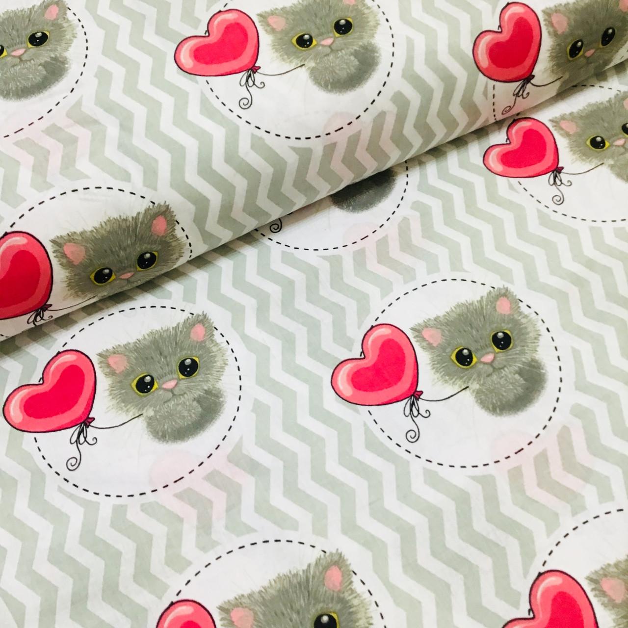 Ткань польская хлопковая, котики с розовыми воздушными шариками на сером зигзаге