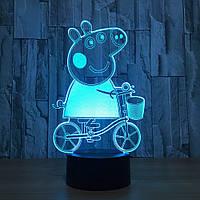 3D светильник  ночник детский 1117 (Свинка Пеппа), фото 1
