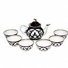 Узбекский сервиз  Пахта (хлопок)  из 10 предметов. Узбекская посуда. Традиционный чайный сервиз узбекский., фото 2