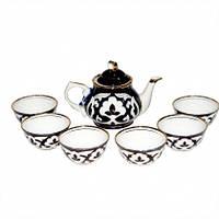 Узбекский сервиз  Пахта (хлопок)  из 9 предметов. Узбекская посуда. Традиционный чайный сервиз узбекский.