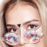 Очки калейдоскоп, круглые солнцезащитные очки, розовые