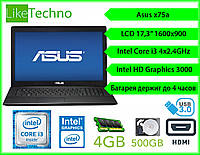 "Ноутбук Asus x75a 17.3"" Core i3 2gen/DDR3 4GB/HDD 500GB/Intel HD/Гарантия"