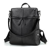 Рюкзак женский сумка кожзам с заклепками Vanesa черный