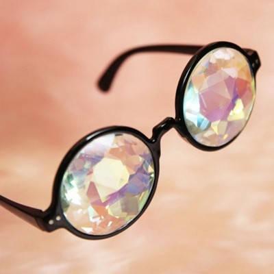 Очки калейдоскоп, круглые солнцезащитные очки, черные, фото 2