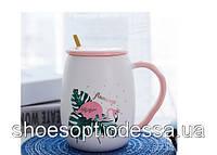 Кружка керамическая Фламинго с крышкой и ложечкой