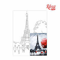 "Холст на картоне с контуром, Города, ""Париж"" (Пейзаж № 2), 30*40, хлопок, акрил, ROSA START"