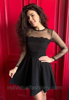 Платье мини «Люкс» сетка-горох с кружевом
