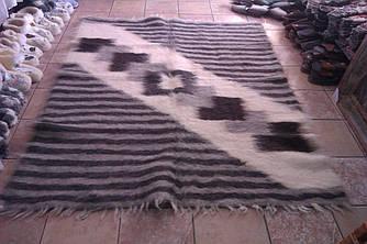 Гуцульський  плед ліжник із натуральної шерсті овчини, ромби