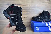Мужские Зимние Кроссовки Adidas AX 2 черные полностью Реплика