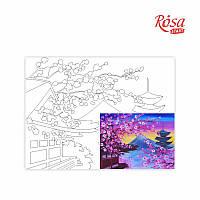 Холст на картоне с контуром, Пейзаж № 16, 30*40, хлопок, акрил, ROSA START
