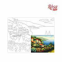 Холст на картоне с контуром, Морские пейзажи № 2, 30*40, хлопок, акрил, ROSA START