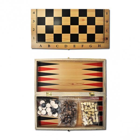 Шахматы деревянные 3 в 1, 35 см
