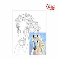 Холст на картоне с контуром, Животные № 4, 30*40, хлопок, акрил, ROSA START
