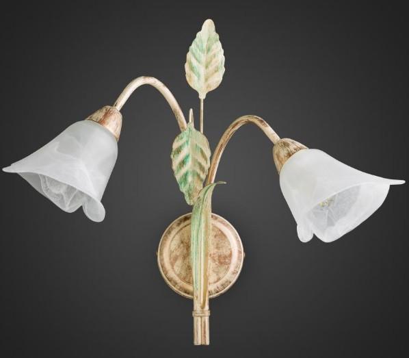 Бра флористика 2 лампы беж золото AR-004579