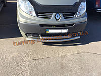 Кенгурятник передний радиус двойная труба нержавейка на Renault Trafic 2001-2014