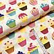 Бавовняна тканина польська тістечка різнокольорові на бежевому, фото 2
