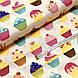 Бавовняна тканина польська тістечка різнокольорові на бежевому, фото 3