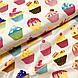Бавовняна тканина польська тістечка різнокольорові на бежевому, фото 4