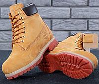 Зимние женские и мужские ботинки Timberland 6 inch yellow с мехом. Топ реплика, фото 1