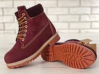 Женские зимние ботинки Timberland classic 6 inch bordo с мехом. Топ реплика