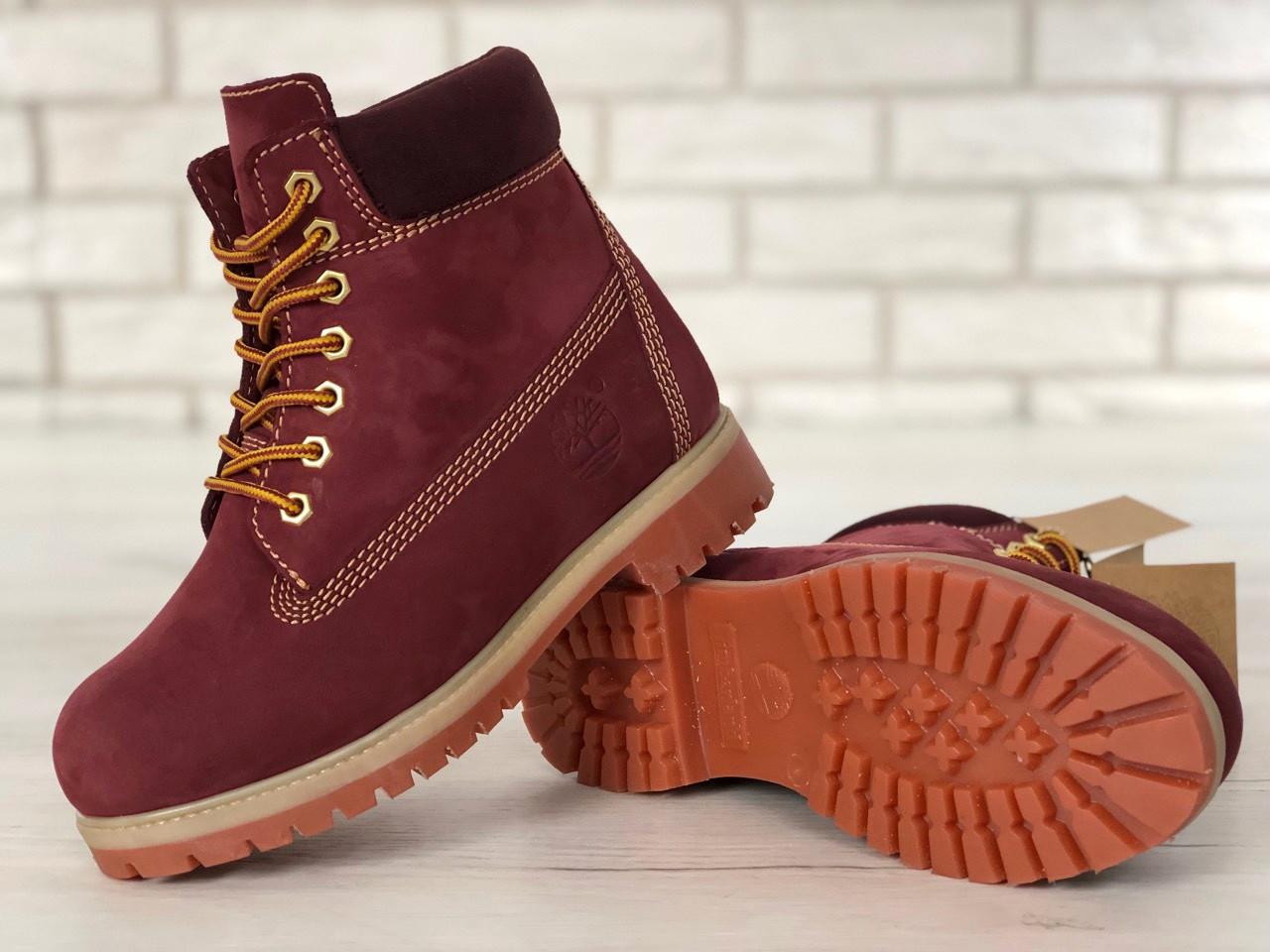 Женские зимние ботинки Timberland classic 6 inch bordo с мехом. Топ реплика  - Интернет магазин 962c954097d