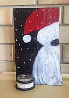 """Новогодний декор, рождественское украшение """"Подсвечник из обожжённой амбарной доски """"Санта"""""""