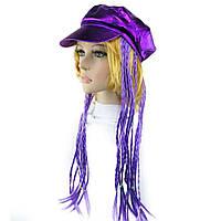 Кепка женская с косичками фиолетовая, фото 1