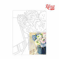 Холст на картоне с контуром, Натюрморт № 26, 30*40, хлопок, акрил, ROSA START