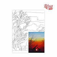 Холст на картоне с контуром, Пейзаж № 24, 30*40, хлопок, акрил, ROSA START