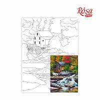 Холст на картоне с контуром, Пейзаж № 26,  30*40, хлопок, акрил, ROSA START