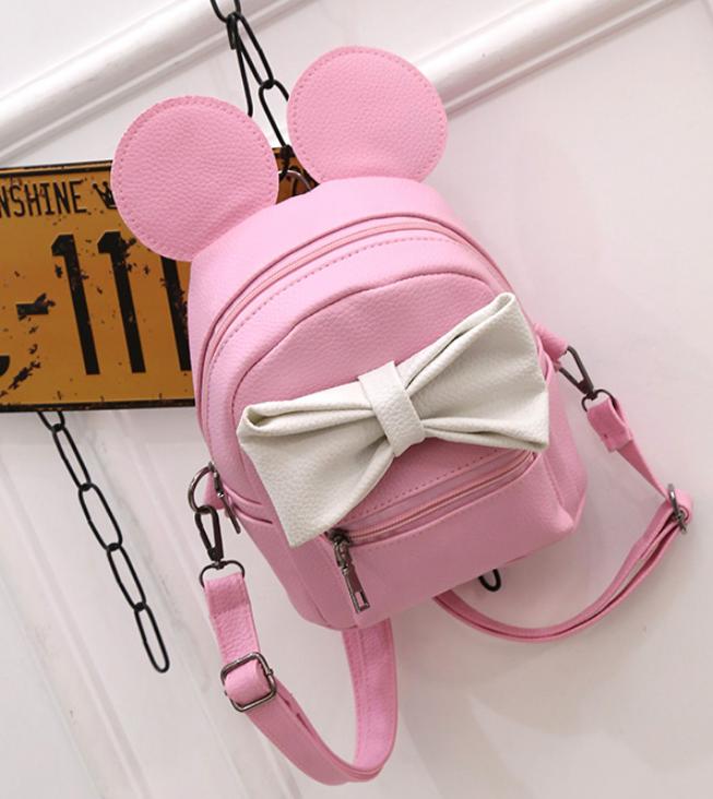 Рюкзак сумка Mikki женский кожзам с ушками Розовый