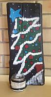 """Новогодний декор, рождественское украшение """"Подсвечник из обожжённой амбарной доски """"Ёлка"""""""