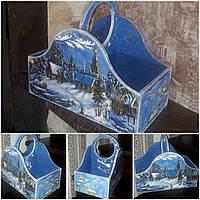 Деревянный декупажный ящик с текстурной лепкой, ручная работа, 26х30х16см., 450/420 (цена за 1 шт. + 30 гр.)