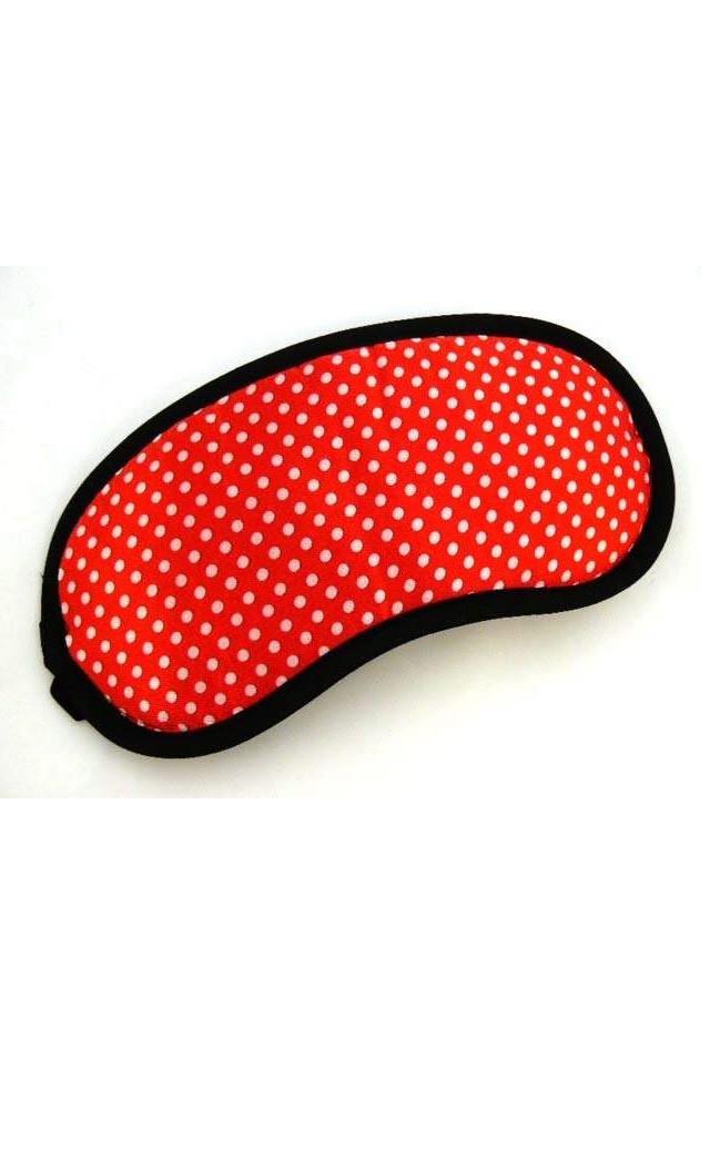 Маска для сна в горошек красная А-1061