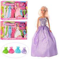 Лялька DEFA 8027 сукні 11 шт., взуття, сумочка, дзеркальце, 3 види, кор., 66,5-35-6см.