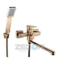 Смеситель с душем для ванны Zegor LEB7-A-T (LEB7-A-T) однорычажный с длинным гусаком цвет бронза