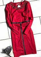 Вечернее платье с камнями из французского трикотажа