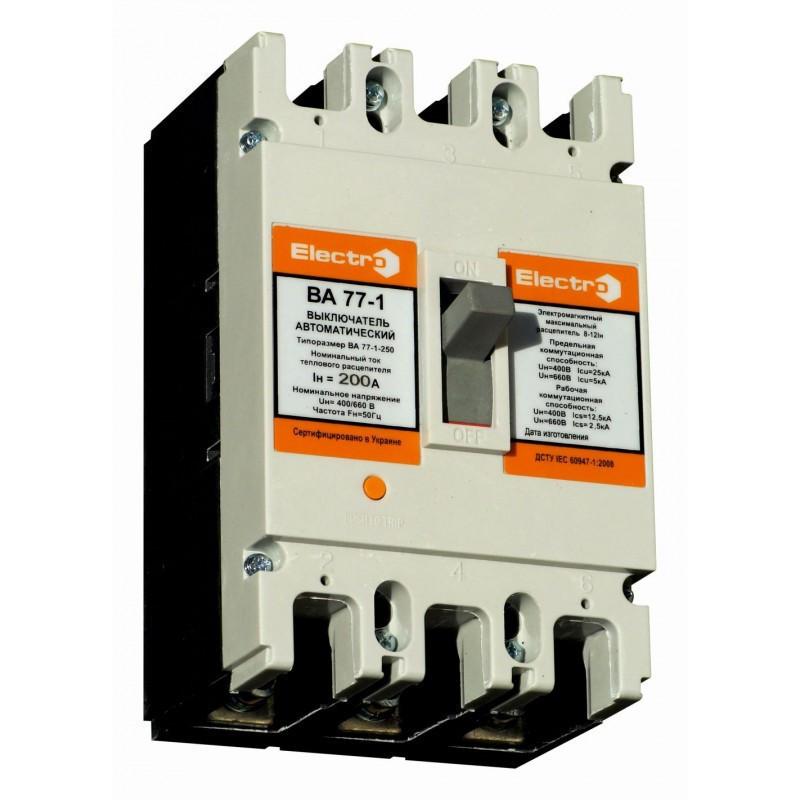 Выключатель автоматический промышленный ВА77-1-250   3 П   250А   3-5In   Icu 25кА   380В