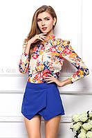 Блузка женская / рубашка с цветочным принтом розовая