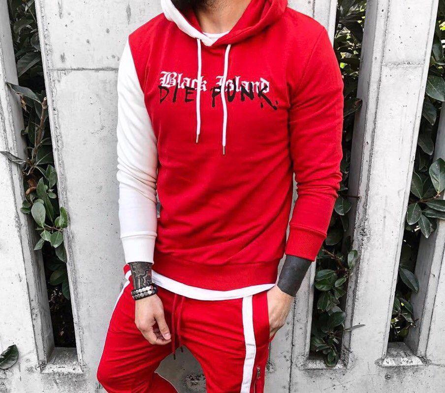 3684e9df5af6 Мужская кофта худи с капюшоном красная с белым