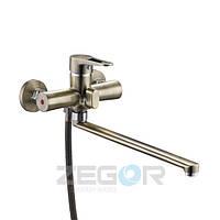 Смеситель для ванны с душем Zegor PUD7-KT (PUD7-KT-A045) однорычажный с длинным гусаком цвет бронза