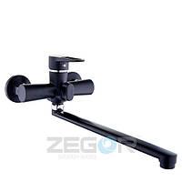 Смеситель для ванны с душем Zegor PUD7-YB (PUD7-YB-A045) однорычажный с длинным гусаком цвет черный
