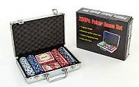 Набір для покеру в алюмінієвому кейсі (200 фішок з номіналом, 2 кол. карт, 5 куб), фото 1