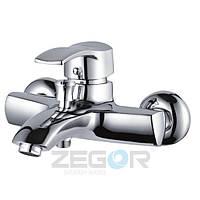 Смеситель для ванны Zegor BBS3 (SBS-A279) однорычажный с душем литой с коротким изливом цвет хром