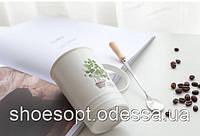 Кружка керамическая Растение с крышкой и ложечкой