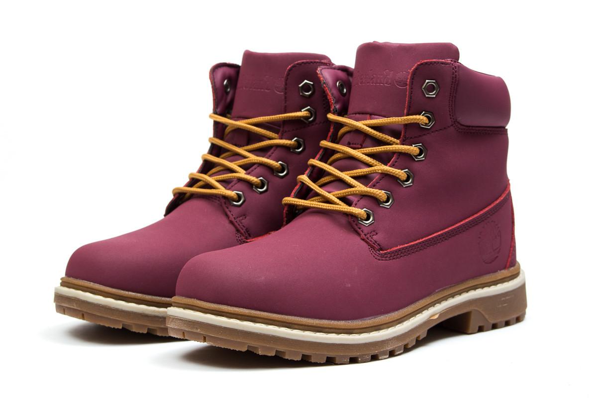 Стильные женские ботинки Timberland Premium Boot (Тимберленд Премиум) на  зиму бордового цвета - реплика 13ae33e5328