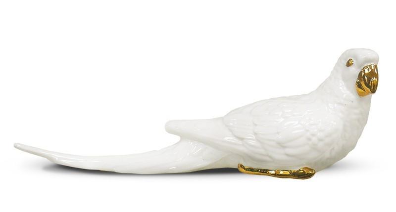 Фігурка папугу біла керамічна декоративна