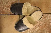 Домашні жіночі тапочки коричневого кольору із овчини